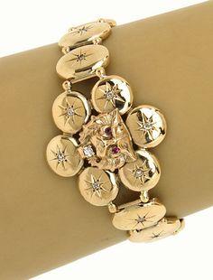 Antique Victorian 10k Yellow Gold Old Mine Cut Diamond & Ruby Wolf Head Bracelet #Statement