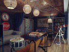 Комната для мальчика в морском стиле с телескопом