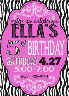 Custom PINK & ZEBRA party invitation, girls birthday, zebra birthday jpeg only on Etsy, $12.00