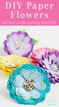 Easy paper flower tutorial — Make these gorgeous flowers using paper punches available at http://www.stuff4scrapbooking.com. Perfect for gift wrap, greeting cards, scrapbook pages & more!