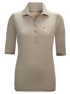 sand polo with gold embroidery g detail and tiny purple star on trend..… girls golf
