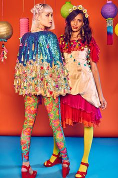 Sara is in Love with… L.O.M. Louise O'Mahony fashion Vendala collection festive lycra colourful pompom frills prints nature flowers rainbow bodysuit