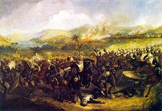The Charge of the 17th Lancers at the Battle of Ulundi during the Anglo-Zulu war in South Africa.
