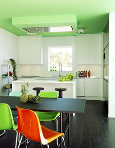 super green ceiling + kitchen