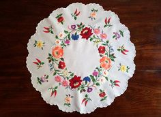 Hand embroidered small round tablecloth table linen ornament. 30365061c4