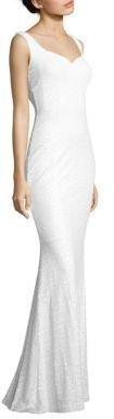 Badgley Mischka Sequined Cowl-Back Gown- slinky white wedding dress. Inexpensive wedding gown.   #afflink