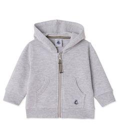 Sweat zippé bébé garçon en molleton Petit Bateau gris