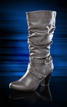 #ShoeCarnival  Women's Rialto Buckle Slouch Heel Boot at Shoe Carnival.