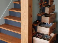 Clever Design Hides a Chest of Drawers Under the Stairs