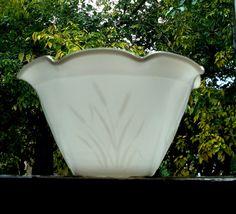 Milk Glass Bowl Cattails Design Vintage 1960s by AuntieQsAttic