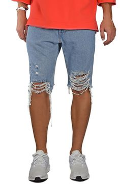 enslaved The Light Wash Ripped Jean Shorts in Light Blue