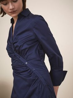 b07eacc6bf3d Natalia Navy Fitted Shirt Dress by KITRI Studio Workout Shirts