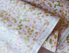 Peach SHIMMER REFLECTION, Brambleberry Ridge Collection, Quilting Weight Cotton Fabric, Metallic Gold Print