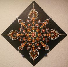 Beautiful mandala dotting painting with acrylic and crystals. Ideal for home decoration or meditation. Mandala Canvas, Mandala Dots, Mandala Pattern, Mandala Design, Dot Art Painting, Mandala Painting, Painting Patterns, Hanging Canvas, Hanging Art