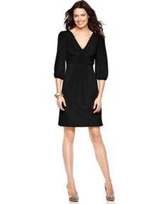 NY Collection Dress, Three Quarter Sleeve Empire Waist Jersey | macys.com