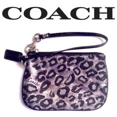 •COACH• Black & Silver Ocelot Wristlet Almost new. Used only a few times. No wear to mention. Black lining with slip pocket for cards. ⭐️⭐️BUNDLE DISCOUNT NOT VALID ON THIS ITEM⭐️⭐️ Coach Bags Clutches & Wristlets