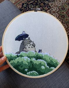 Studio Ghibli is a Japanese animation film studio founded in June 1985 by the directors **Hayao Miyazaki** and **Isao Takahata** and the producer. Creative Embroidery, Simple Embroidery, Hand Embroidery Stitches, Hand Embroidery Designs, Cross Stitch Embroidery, Cross Stitching, Stitch Patterns, Sewing Crafts, Needlework