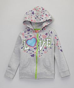Love this Gray 'Love' Zip-Up Hoodie - Toddler & Girls by French Toast on #zulily! #zulilyfinds