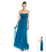 Product: Hailey Logan Juniors' Strapless Chiffon Gown