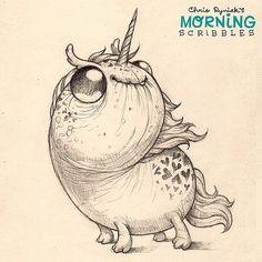 "Follow up to last week's popular ""sparkle pony magic"" drawing, I present...""sparkle unicorn magic"". #morningscribbles #sparkleponymagic   출처: CHRIS RYNIAK"