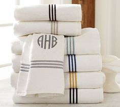 Grand Embroidered 700-Gram Weight Bath Towels #potterybarn  white towel with black trim/monogram or black with white trim/monogram
