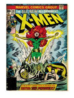 Marvel Comics Retro: The X-Men Comic Book Cover #101, Phoenix, Storm, Nightcrawler, Cyclops (aged) Art Print