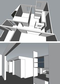 floor plan section // interior perspective rendering  [dana point modern cottage addition + renovation]