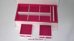Caixa em madeira : Porta jóias decorado com tecido