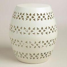 White Floral Metal Sonia Drum Stool | World Market