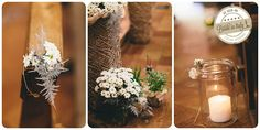 Elegant, rustic theme in gray + white + green. Daisies, herbs, twine and candles. Ph Andrea Tappo http://www.brideinitaly.com/2013/09/andreatappo-diy.html #italianstyle