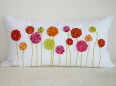 Pillow Cover - 12 x 22 Inch Retro Yo-Yo Poppies