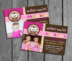 Look Whoo's Turning One Girl Or Twin Girl  Invitation Who's Birthday Party Invitations Digital Hig Res You print file. $8.00, via Etsy.
