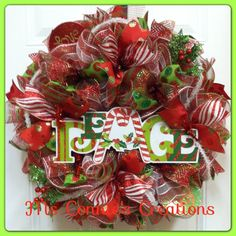 Christmas Mesh Wreath by CreationsbyMsConnie on Etsy, $70.00