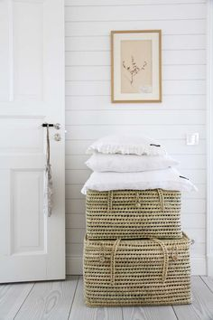white walls and hampers