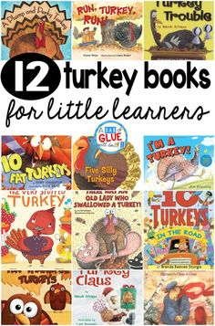 12 Turkey Books for Little Learners Our 12 favorite turkey books are perfect for your Thanksgiving or fall lesson plans. These are great for preschool, kindergarten, or first grade students. Thanksgiving Books, Thanksgiving Preschool, Fall Preschool, Preschool Books, Preschool Activities, November Preschool Themes, Thanksgiving Treats, Preschool Classroom, Holiday Activities