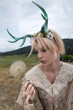 Moss and Flower Nymph Fawn Medium Antlers by idolatre on Etsy