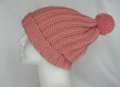 Knit pom pom hat, knit beanie hat, wool and acrylic soft hat, pretty pink knit hat, winter hat, Unisex knit hat, soft and cozy