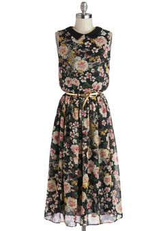 Bursting with Blossoms Dress. Your zest for life comes alive each time you don this floral midi dress from Louche! #black #modcloth