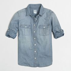 J.Crew Factory classic chambray shirt ($45) ❤ liked on Polyvore featuring tops, shirts, chambray, button down, button up, blue chambray shirt, blue top, long button up shirt, chambray top and button up shirts