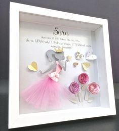Personalized Name Origin and Meaning Paper Origami Princess with Hearts & Roses Custom Shadowbox Frame Newborn Baby Shower Nursery Girl Gift by paintandpapercraft on Etsy