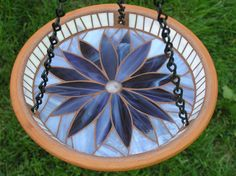 Purple Mosaic Flower Birdfeeder by CreativeMosaics1 on Etsy, $35.00