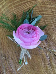 Loved it! Pinned it! A Blooming Envy Design! Boutonniere designed with a Pink Ranunculus and greens.