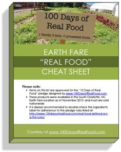 "Supermarket Real Food ""Cheat Sheet"" - you do have to ""like"" the blogger on Facebook to get this PDF."