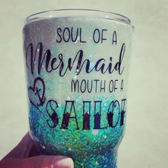 Glitter Dipped Yeti, Glow in the Dark Glitter Tumbler, with Soul of A Mermaid, Mouth of A Sailor quote//Glitter Yeti Tumbler//Custom Options Meerjungfrau Zitate Diy Tumblers, Custom Tumblers, Glitter Tumblers, Tumblr Cup, Mermaid Quotes, Bff, Origami, Arts And Crafts, Diy Crafts