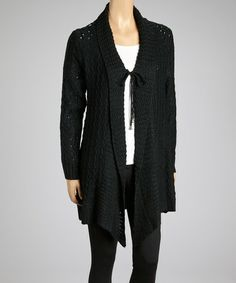 Take a look at this Black Crocheted Shawl Collar Duster by SR Fashions on #zulily today!