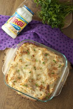 Bacon Alfredo Pasta Bake dish is comforting and a great recipe for dinner guests.