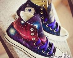 The stars hand-painted  shoes/converse canvas shoes/Custom canvas shoes/galaxy converse shoes/ children shoes/Anime graffiti shoes/ gifts
