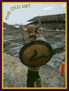 The old Met stadium & the original Vikings mascot Ragnar