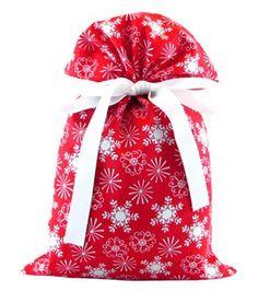 VZ Wraps. Reusable gift wrapping, several sizes, different occasions.  Snowflakes Fabric Gift Bag