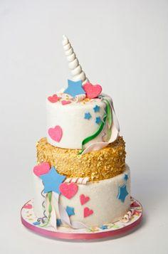 eine idee für die kinder   eine schöne weiße einhorn torte